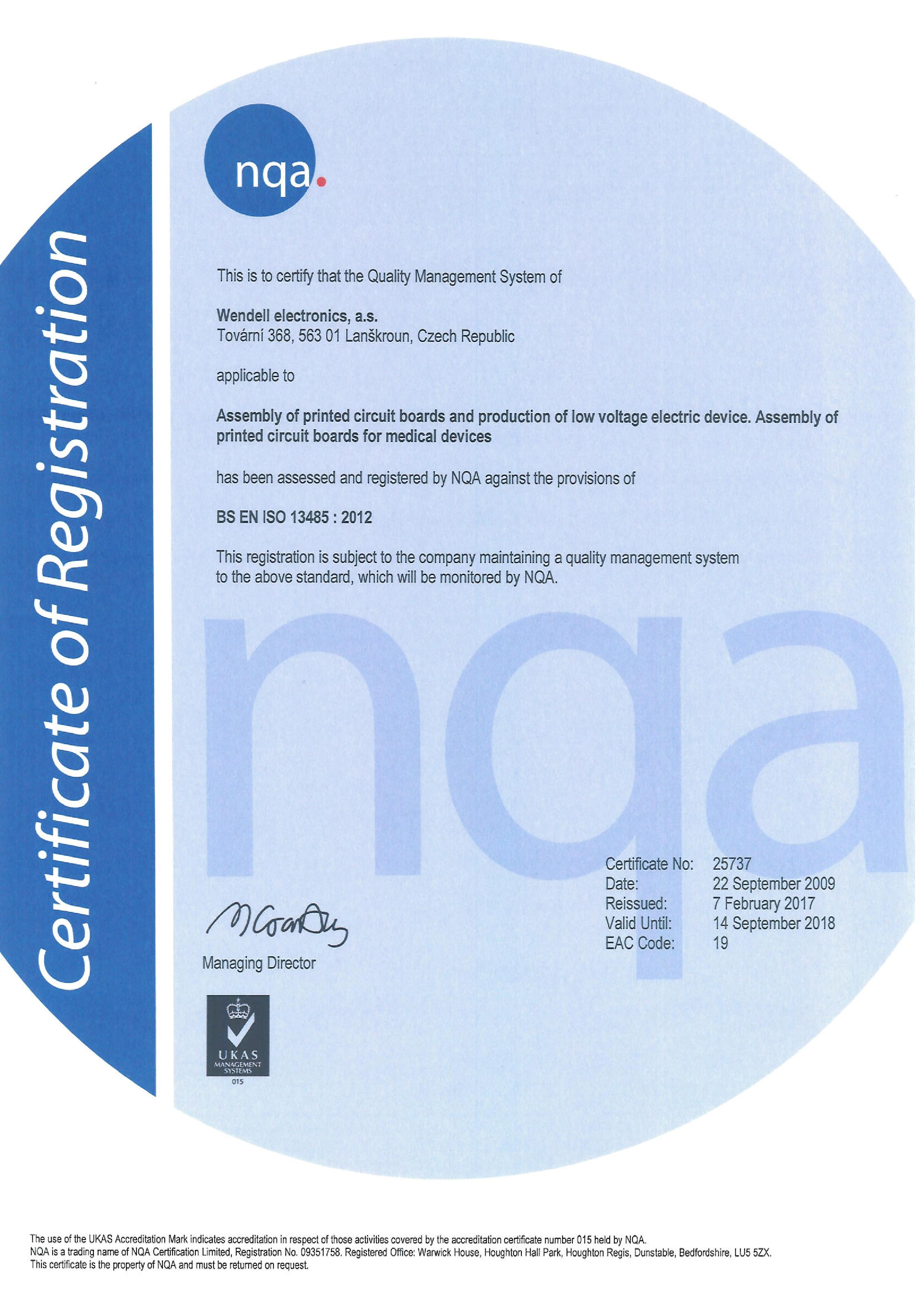 Certification Wendell Electronics As
